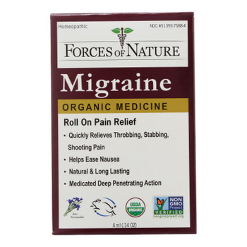 Forces Of Nature Certified Organic Medicine Migraine Rollerball Applicator  - 1 Each - 4 Ml