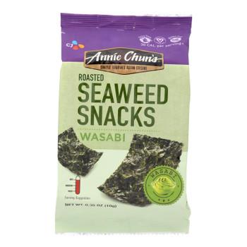 Annie Chun's Seaweed Snacks Roasted Wasabi - Case Of 12 - 0.35 Oz.