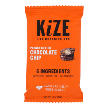 Kize Concepts - Energy Bar Raw Peanut Butter Chocolate Chip - Case Of 10-1.5oz