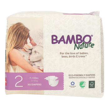 Bambo Nature - Diapers Size 2 7-13 Lbs - Case Of 6 - 30 Ct