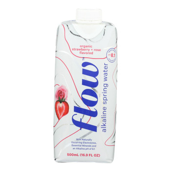 Flow Alkaline Spring Water Organic Strawberry + Rose - Case Of 12 - 500 Ml