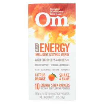 Om Organic Mushroom Nutrition Energy Citrus Orange Dietary Supplement Powder  - Case Of 10 - .21 Oz