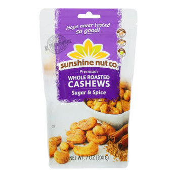 Sunshine Nut Company - Cashews Sugar N Spice Roasted - Case Of 6 - 7 Oz
