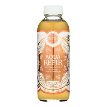 Gts Kombucha - Aqua Kefir Peach Pineap - Case Of 12 - 16 Fz