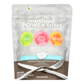 Method Products Inc - Dish Det Free/clear 45pod - Case Of 6 - 23.8 Oz