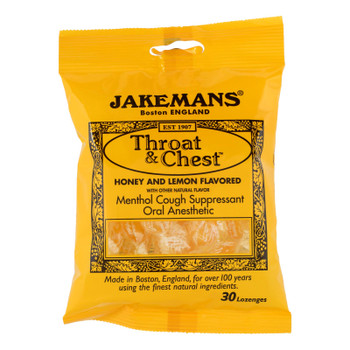 Jakeman's Throat & Chest Honey And Lemon Flavored Menthol Cough Suppressant Oral Anesthetic  - 1 Each - 30 Ct