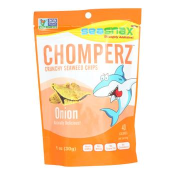 Seasnax Chomperz Onion Crunchy Seaweed Chips  - Case Of 8 - 1 Oz