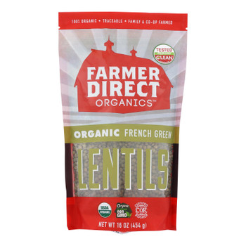 Farmer Direct Co-op Organic French Green Lentils - Case Of 12 - 1 Lb