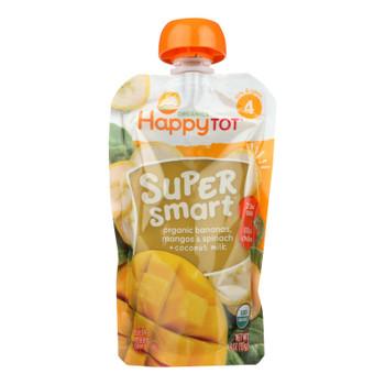 Happy Tot Super Smart Organic Bananas, Mangos, & Spinach + Coconut Milk  - Case Of 16 - 4 0z