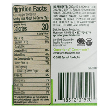 Sprout Organic Broccoli Curlz Baked Toddler Snacks  - Case Of 6 - 1.48 Oz