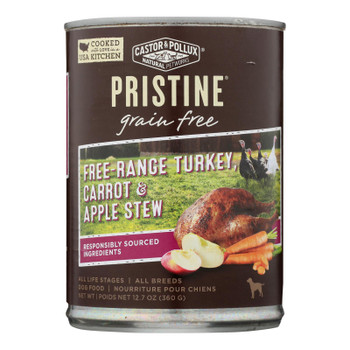 Castor & Pollux Wet Dog Food, Pristine Grain-free Free-range Turkey, Carrot & Apple Stew  - Case Of 12 - 12.7 Oz