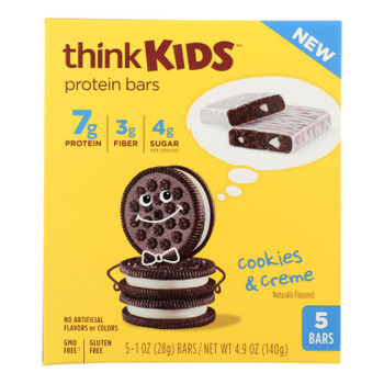 Think Kids Cookies & Creme Protein Bars - Case Of 6 - 5/1 Oz