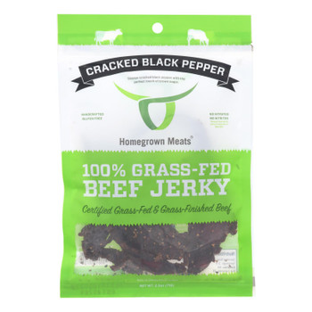 Homegrown Meats - Jerky Grs Fed Black Pepper - Case Of 24 - 2.5 Oz