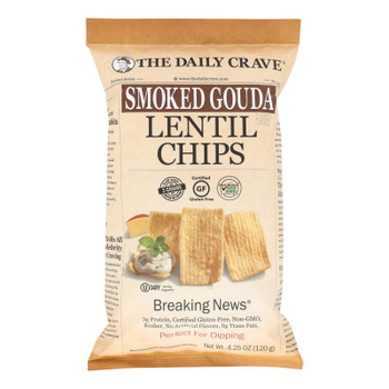 The Daily Crave - Lentil Chip Smoked Gouda - Case Of 8 - 4.25 Oz