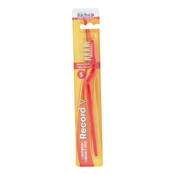Fuchs Natural Bristle Toothbrush - Soft Red - Case Of 12 - Ct