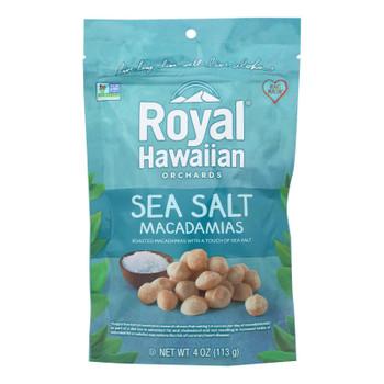 Royal Hawaiian Orchards Macadamias, Sea Salt  - Case Of 6 - 4 Oz