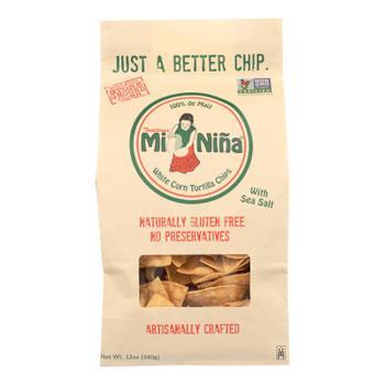 Mi Nina's White Corn Tortilla Chips With Sea Salt  - Case Of 9 - 12 Oz