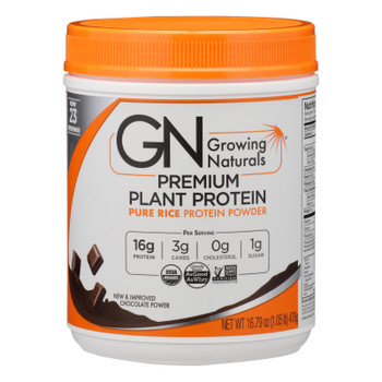 Growing Naturals Organic Rice Protein Powder, Chocolate  - 1 Each - 16.79 Oz