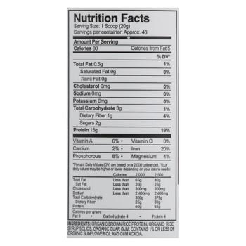 Growingnaturals Organic Original Rice Protein Powder  - 1 Each - 32.38 Oz