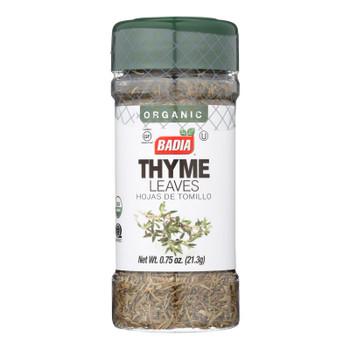 Badia Organic Thyme Leaves  - Case Of 8 - .75 Oz