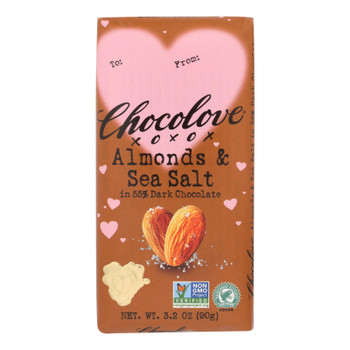 Chocolove Xoxox - Bar Dark Chocolate Almnd Ss Val - Case Of 12 - 3.20 Oz