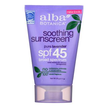 Alba Botanica Pure Lavender Spf 45 Soothing Sunscreen  - 1 Each - 1 Oz