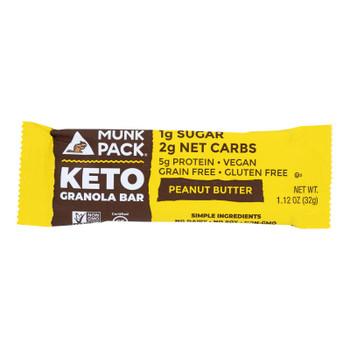 Munk Pack - Green Bar Peanut Butter Keto - Case Of 6 - 4/1.12oz