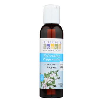 Aura Cacia - Aromatherapy Bath Body And Massage Oil Peppermint Harvest - 4 Fl Oz