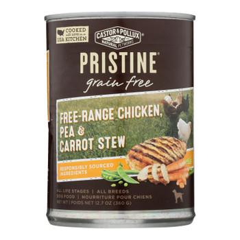 Castor & Pollux Wet Dog Food, Pristine Grain-free Free-range Chicken, Pea & Carrot Stew  - Case Of 12 - 12.7 Oz