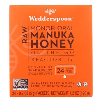 Wedderspoon Honey On The Go 100% Raw Manuka Honey - Case Of 6 - 4.2 Oz