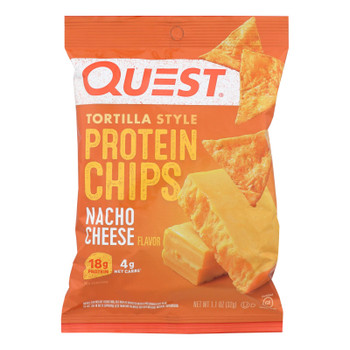 Quest® Nacho Cheese Tortilla Style Protein Chips, Nacho Cheese - Case Of 8 - 1.1 Oz