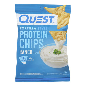 Quest Nutrition Ranch Tortilla Style Protein Chips, Ranch - Case Of 8 - 1.1 Oz