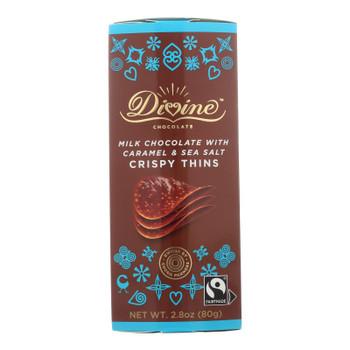 Divine - Crisp Thns Milk Chocolate Caramel - Case Of 12 - 2.8 Oz