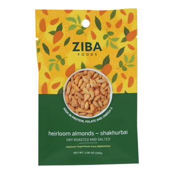 Ziba Foods - Nuts Almonds Roasted Salted - Case Of 24-1.06 Oz
