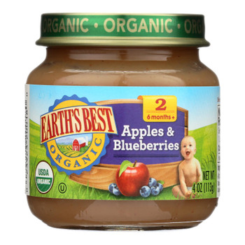Earth's Best - Stage 2 Apple Blueberry - Case Of 10-4 Oz