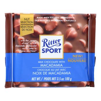 Ritter Sport Milk Chocolate With Macadamia Bar - Case Of 11 - 3.5 Oz
