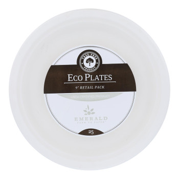 Emerald Brand - Plates Round Compostable - Cs Of 12-25 Ct