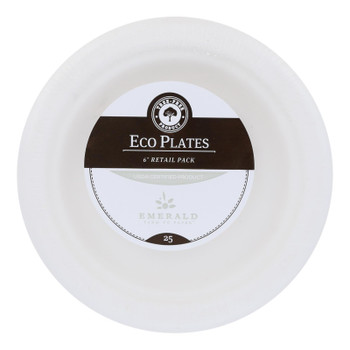 Emerald Brand - Plates Compostable 6in - Cs Of 20-25 Ct