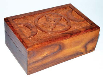 "4"" X 6"" Triple Moon Pentagram Wood Box"
