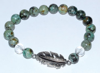 8mm Turquoise/ Quartz With Feather