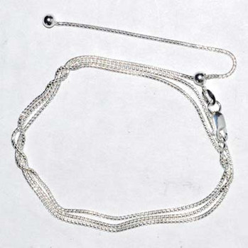 """24"""" Round Adjustable Box Chain Sterling"""