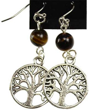 Tigers Eye Tree Of Life Earrings
