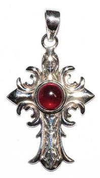 "1.5"" Medieval Cross Garnet Pendant"