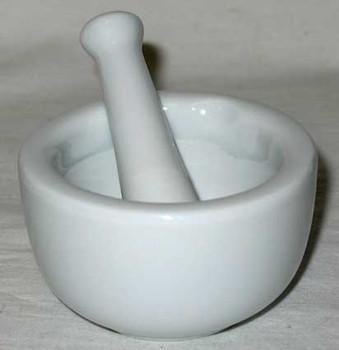 White Ceramic Mortar And Pestle Set - LMORS