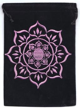 """5""""x 7"""" Lotus Black Velveteen Bag"""