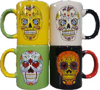 Set Of 4 Day Dead Mugs