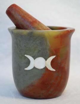 Pearl Inlaid Triple Moon Soapstone Mortar & Pestle Set