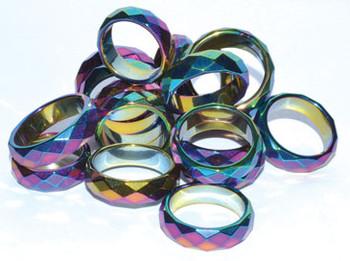 Rainbow Magnetic Hematite Faceted Rings (50/bag)