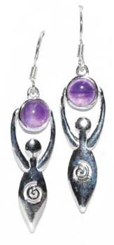 Goddess With Amethyst Moon Earrings