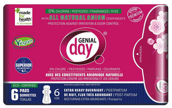 Genial Day - Pads Postpartum Overnight - Case Of 6 - 6 Ct